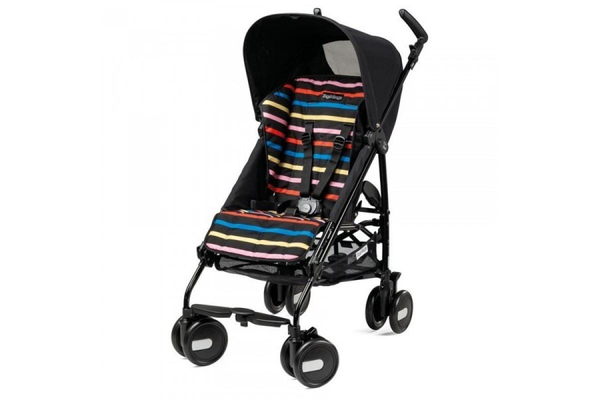 Peg-Perego Pliko Mini - коляска прогулочная Neon (черная с цветными полосками) уценка 2483