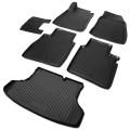 Комплект ковриков салона и багажника Rival для Nissan Sentra B17 седан 2014-2016, полиуретан, с крепежом, с перемычкой, 6 шт., K14106002-1