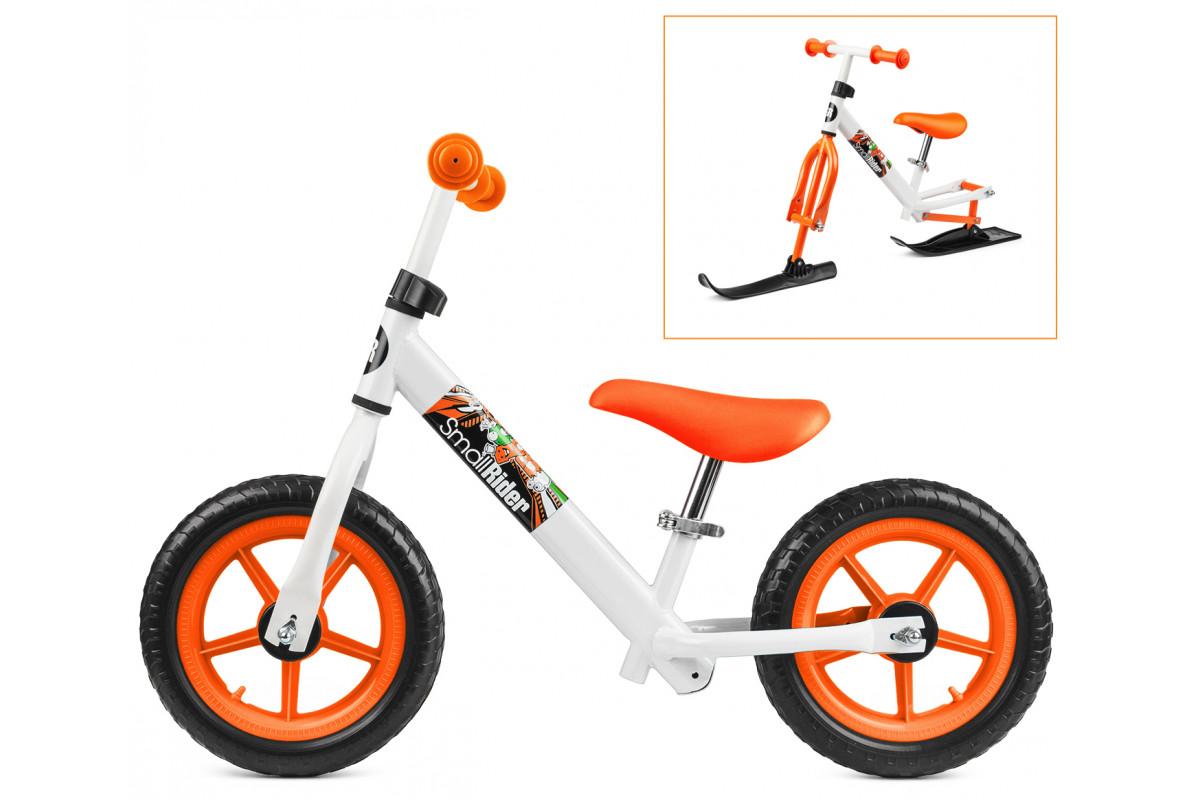 Small Rider Combo Racer - беговел с лыжами и колесами 2 в 1 бело-оранжевый