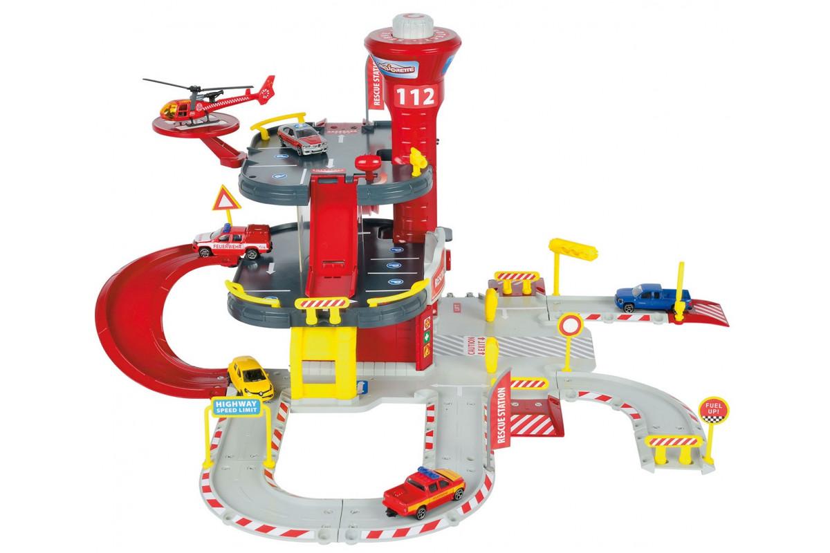 Majorette Парковка пожарная станция Creatix, 1 вертолет и 1 машинка 2050015