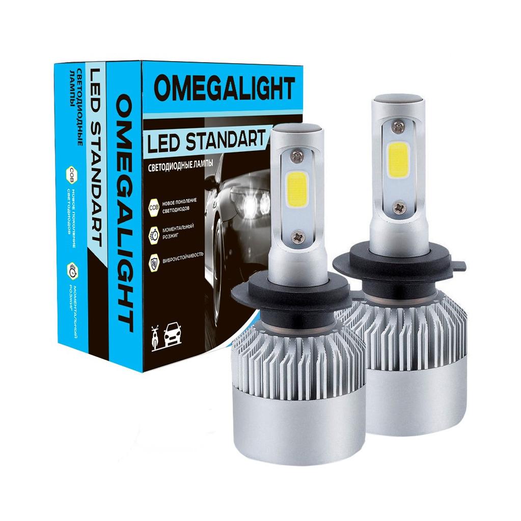 Лампа автомобильная LED светодиодная Omegalight Standart 3000K H4 2400lm (2шт)