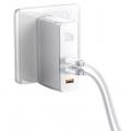 Адаптер питания Baseus GaN2 Pro Mini Dual Type-C + USB-A 120 Вт, белый