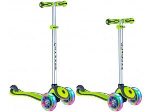 Y-Scoo Globber Primo Plus - детский самокат со светящимися колесами зеленый