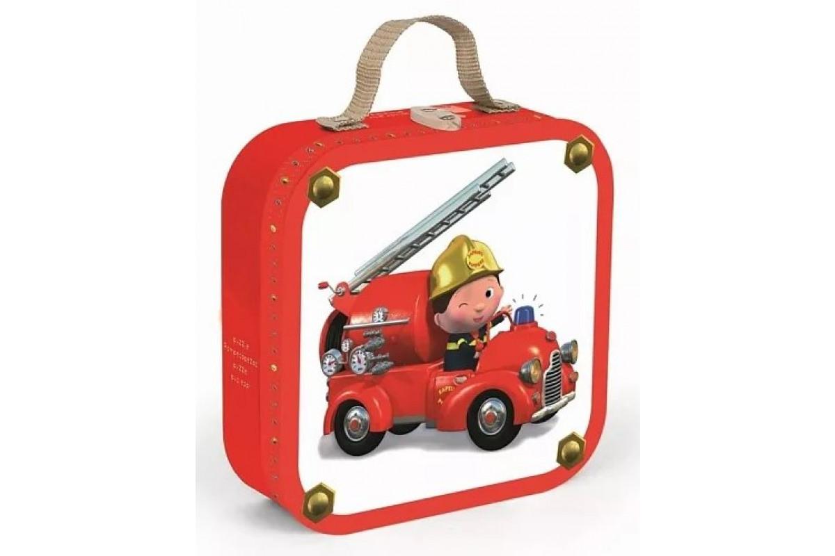 Janod Набор пазлов Леон пожарный в квадратном чемоданчике: 4 пазла на 6, 9, 12 и 16 элементов