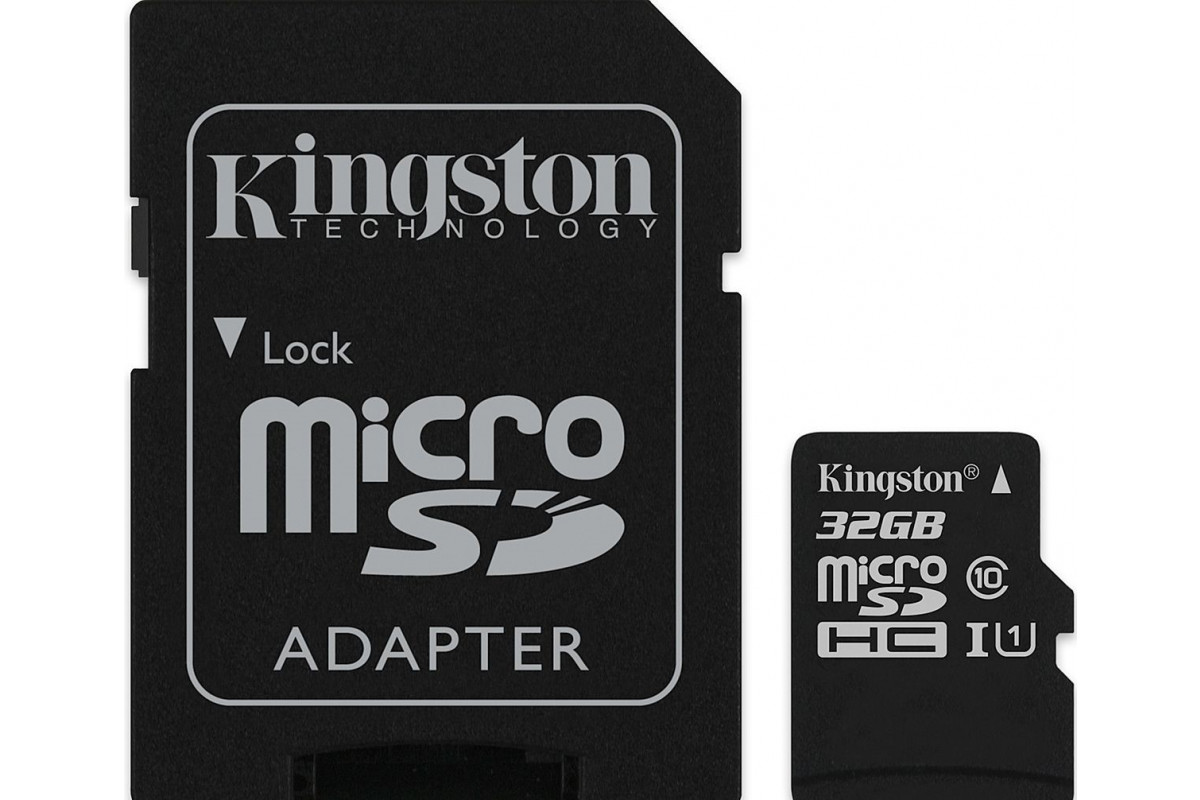 Карта памяти Kingston microSDHC 32GB Class 10 UHS-I U1 Canvas Select до 80MB/s с адаптером