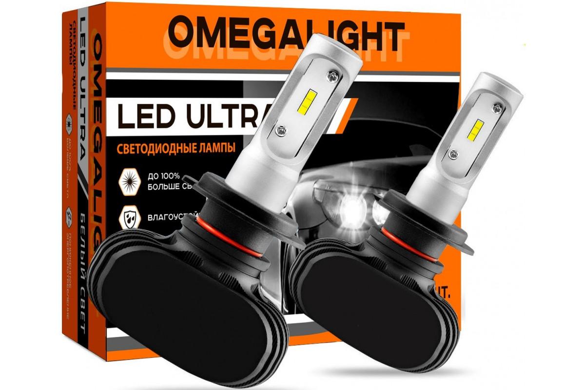 Лампа автомобильная LED светодиодная Omegalight Ultra H1 2500lm (2шт)