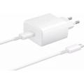 СЗУ адаптер USB Type-C, Power Delivery, 45Вт + кабель USB Type-C, белый, EP-TA845XWEGRU, Samsung