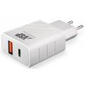 СЗУ адаптер USB Type-C + USB A, QC 3.0, Power Delivery, 18Вт, белый, BoraSCO