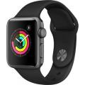 Умные часы Apple Watch Series 3 38мм, корпус из алюминия цвета «серый космос», спортивный ремешок чёрного цвета