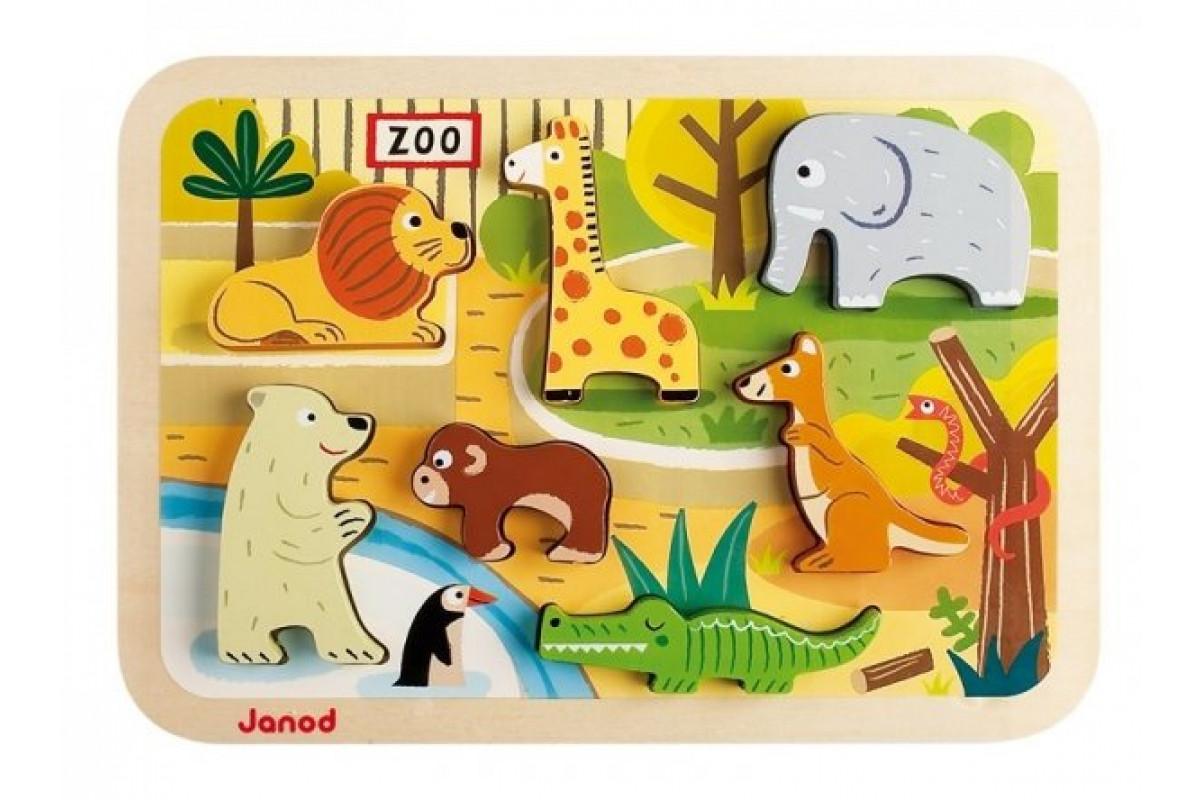 Janod Пазл Зоопарк объемный: 7 элементов