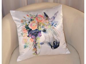 Подушка декоративная Худжанд Единорог Персик с фотопечатью 35х35