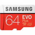 Карта памяти Samsung Evo Plus microSDXC 64Gb Class 10 UHS-I U3 (20/100MB/s) + ADP