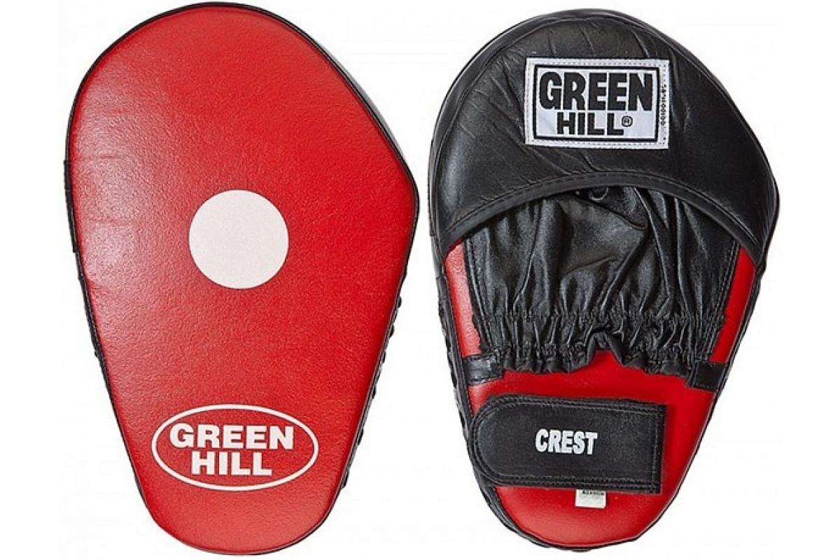 Лапа боксерская прямая (пара) зеленый Hill CREST FMС-5005 Черно-красный