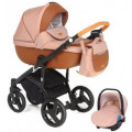 Adamex Massimo - коляска 3 в 1 кожа коричневая V29
