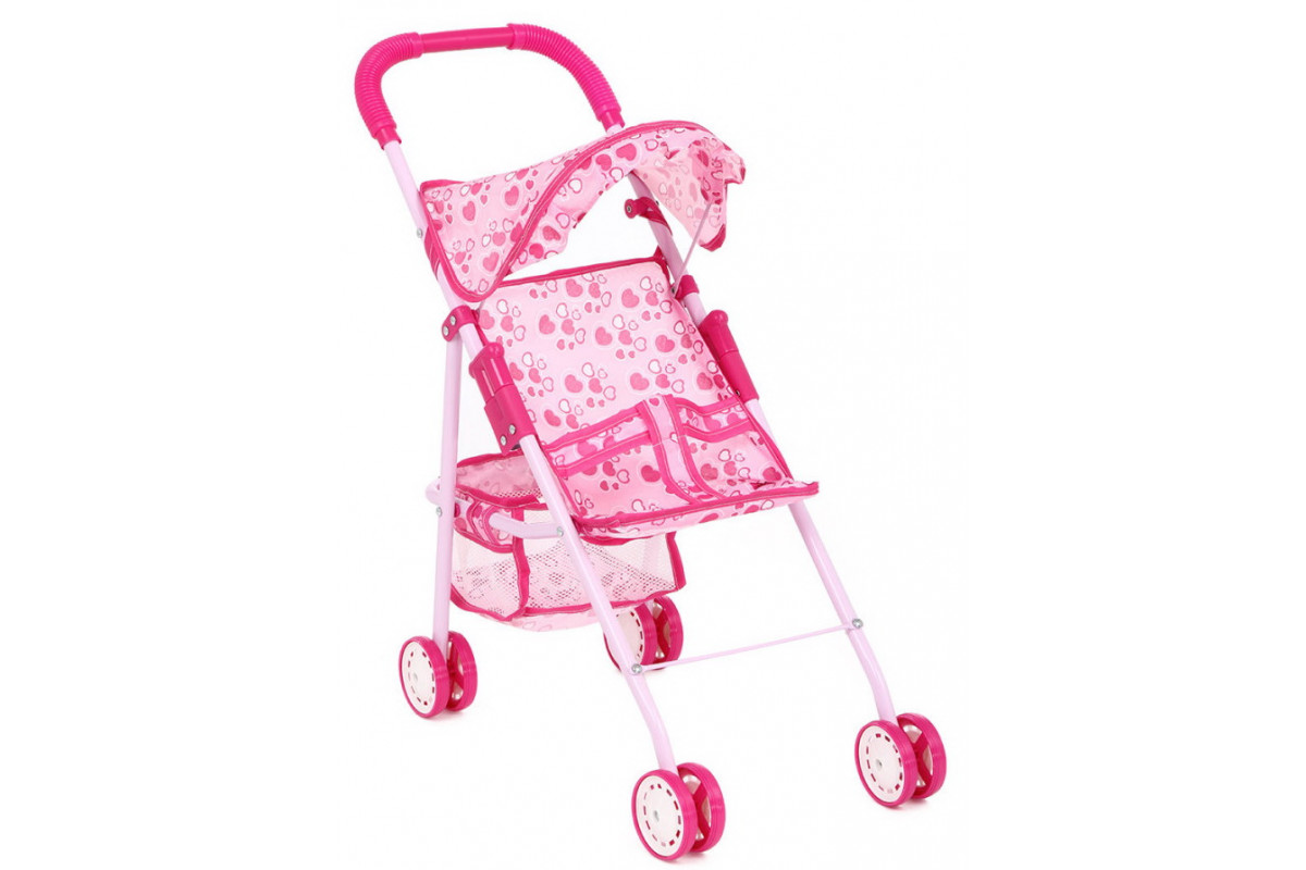 Игруша Коляска для куклы прогулочная 816A, розово-сердечки/цветочки