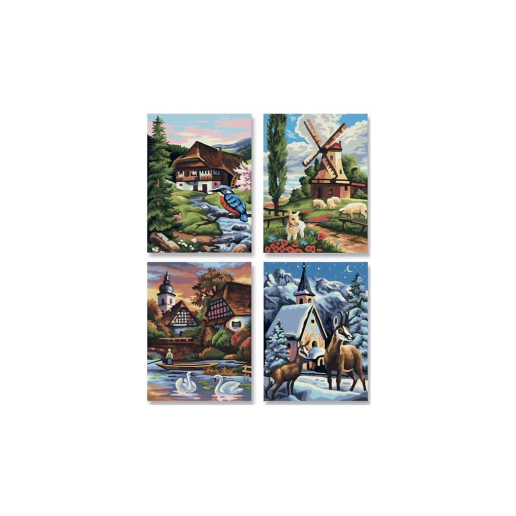 Schipper Времена года - набор из 4 раскрасок по номерам, 18х24 см