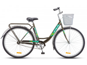 "Велосипед Stels Navigator 28"" 345 Z010/Z011 (с корзиной) (LU085343) Темно-оливковый"