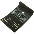 Маникюрный набор GD, 6 предметов, цвет черный, кожаный футляр