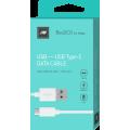 Дата-кабель BoraSCO USB - Type C, 2А 1м, белый