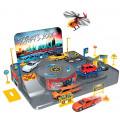 Welly Гараж - игровой набор с 3 машинами и вертолетом 96010