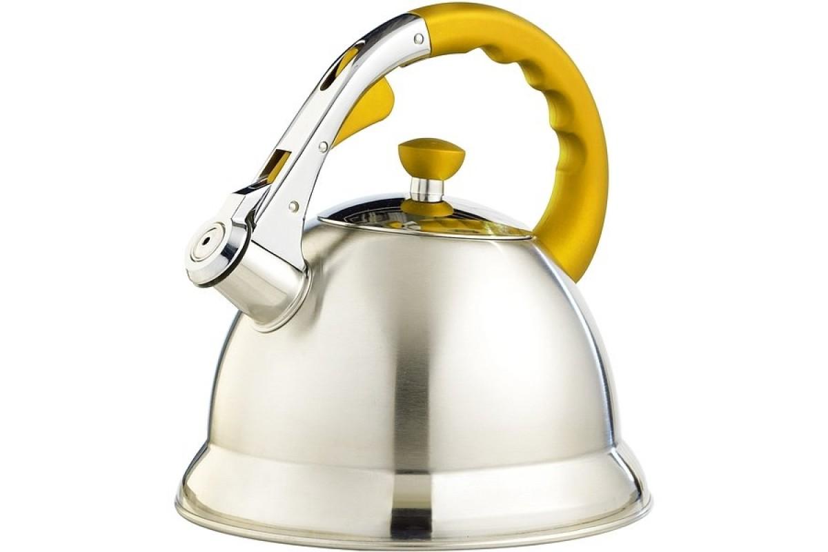 Чайник TECO TC-106-Y (3,0л,со свистком нерж.стали c капсульным дном,с силиконовой цветной руч)