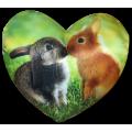 Подушка декоративная Худжанд рельефная с фотопечатью сердце кролики