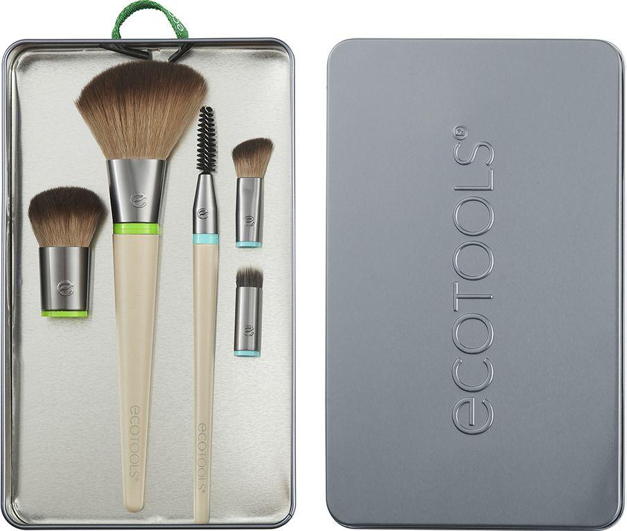 Набор кистей для макияжа (5 сменных насадок и 2 ручки) EcoTools Interchangeables Daily Essentials Total Face Kit,  бежевый/зеленый/голубой