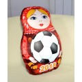 Подушка декоративная Худжанд рельефная с фотопечатью Матрешка футбол