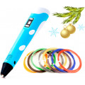 Новогодний набор (3D ручка Spider Pen PLUS, Пластик, Трафареты) цвет Голубой