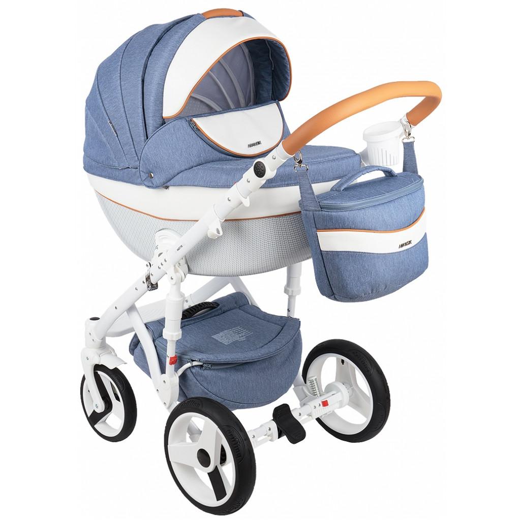 Adamex Monte Carbon - универсальная коляска 2 в 1 (голубой джинс белый карамель D33)