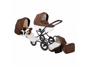 Tutis Zippy Classic New - коляска 3 в 1 Белая кожа шоколад