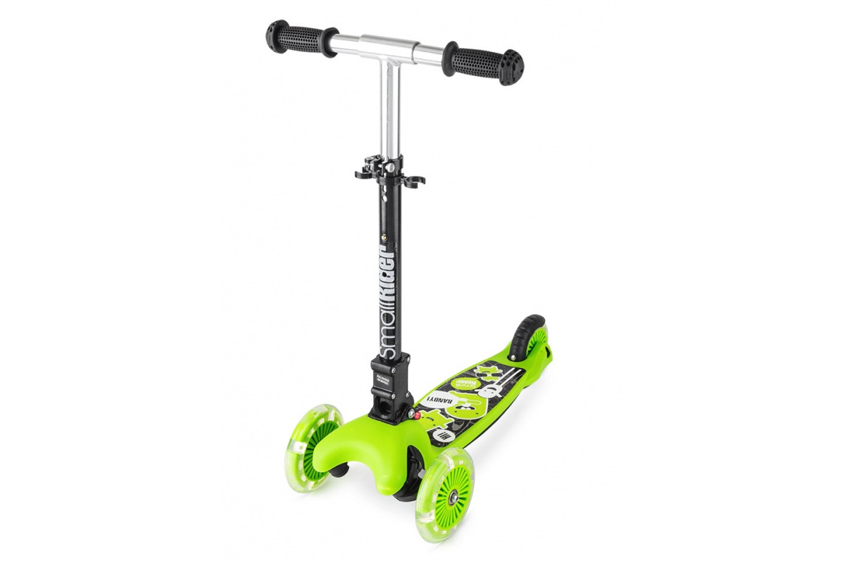 Small Rider Randy Flash - самокат складной со светящимися колесами зеленый матовый