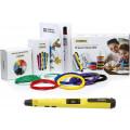 3D ручка Feizerg F001, желтая с набором для объемного рисования (Feizerg F001 Yellow, Пластик 10 цветов, трафареты 20)