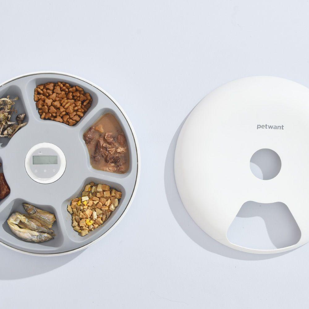 Автоматическая кормушка для животных Petwant F6 LCD, 6 отсеков для корма по 180мл, белая