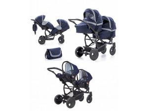 Tutis Terra - коляска 3 в 1 для двойни сине-голубая