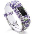 Силиконовый ремешок для браслета Garmin Vivofit JR, белый с рисунком, фиолетовые цветы