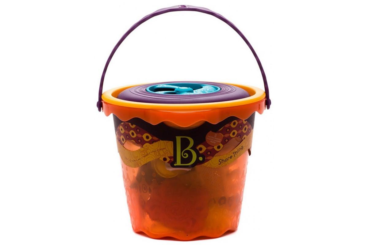 B.Toys Ведерко большое и набор игровой для песка: 11 предметов; оранжевый