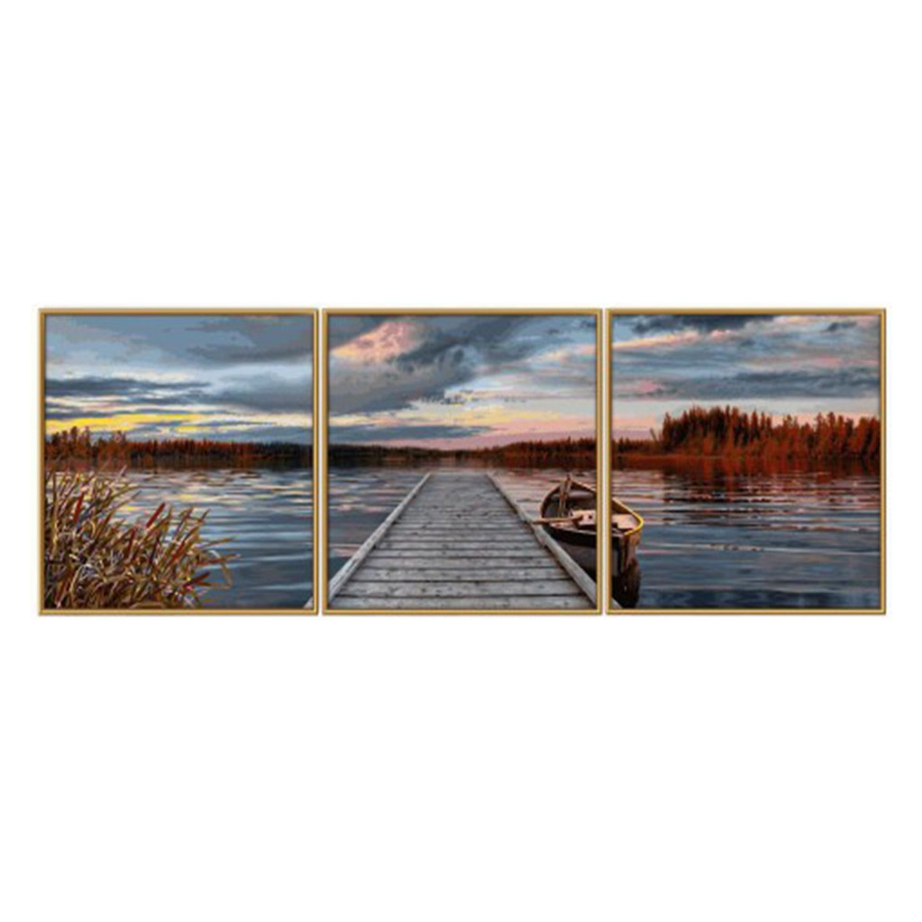 Schipper Триптих Восход на озере - раскраска по номерам, 120х40см