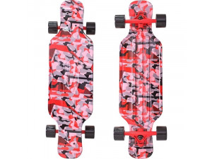 "Y-Scoo Longboard Shark TIR 31"" - скейтборд с сумкой CHAOS красный-черный"