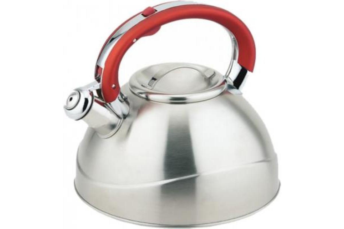 Чайник TECO TC-109-R (3,0л,со свистком нерж.стали,c капсульным дном,с силиконовой цветной руч)