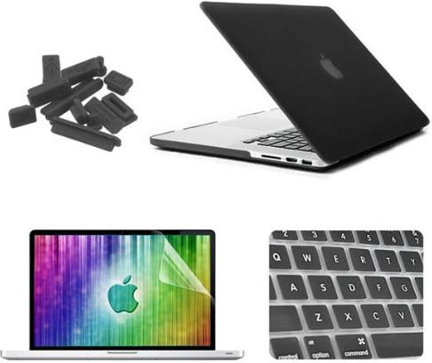 """Комплект акссесуаров ENKAY матовый корпус, клавиатура, заглушки для гнезд, защитная пленка на экран для Macbook Pro Retina 15.4"""", черный"""