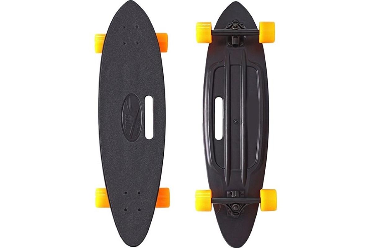 """Y-Scoo Longboard Shark 31"""" - скейтборд с сумкой черный-оранжевый"""