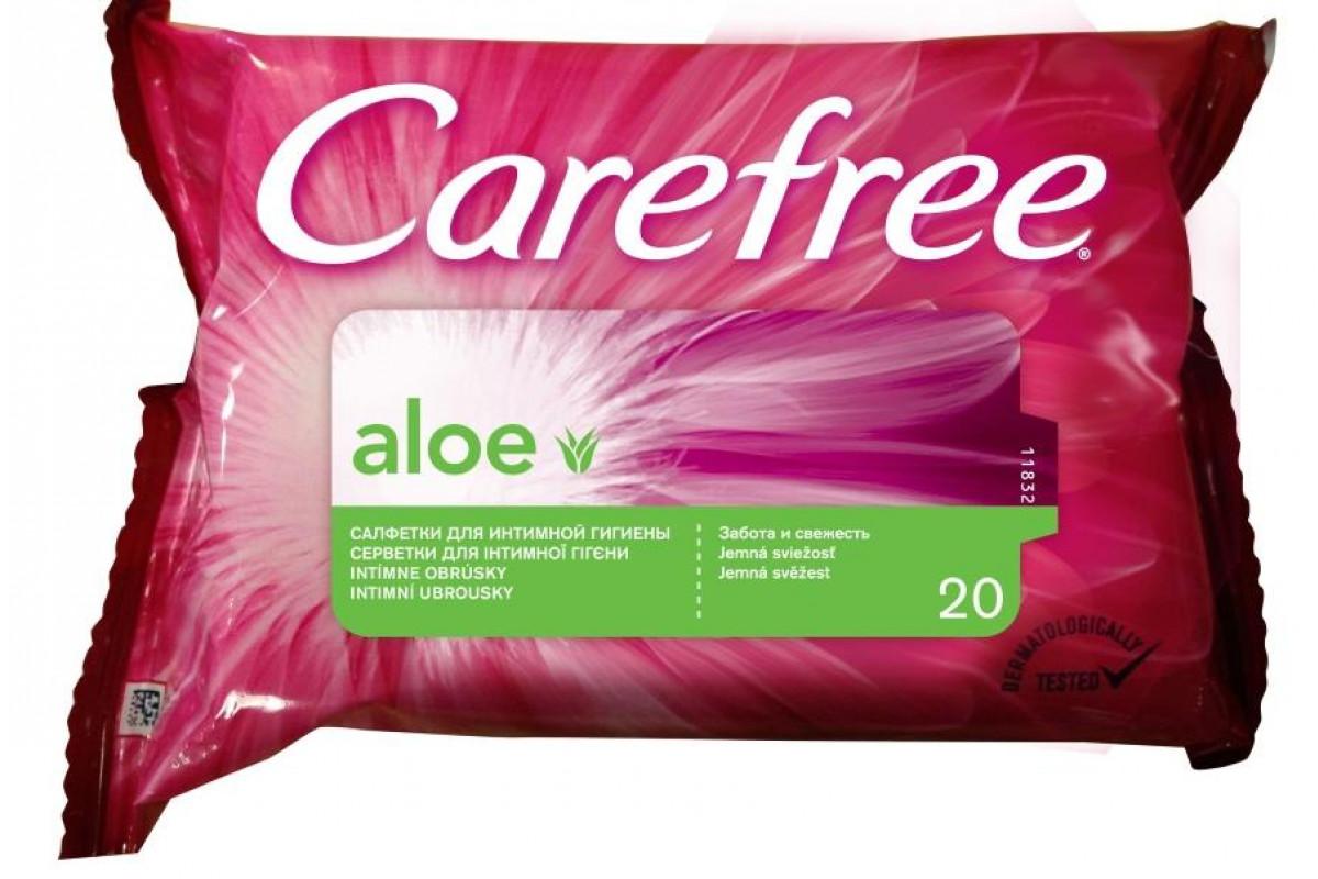 Carefree Салфетки АЛОЭ ВЛАЖНЫЕ для интимной гигиены 20 шт.