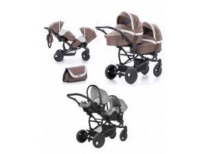 Tutis Terra - коляска 3 в 1 для двойни коричнево-серый лен