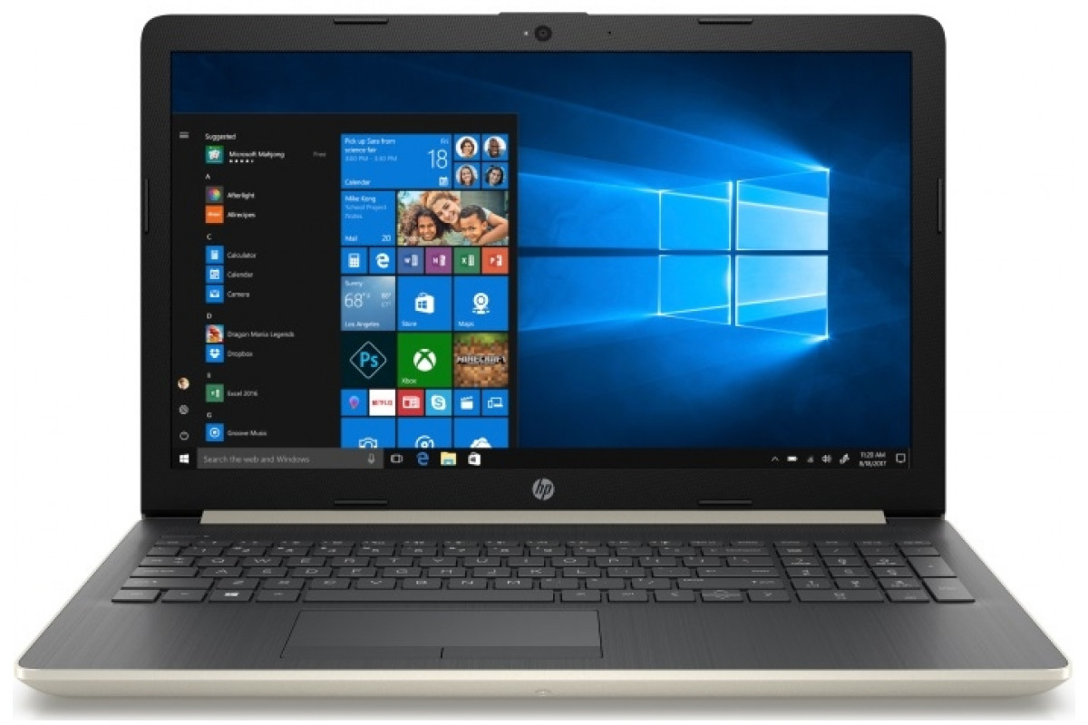 "Ноутбук HP 15-da0187ur <4MV00EA> i3-7020U (2.3)/4Gb/128Gb SSD/15.6""FHD AG/NV GeForce MX110 2GB/No ODD/Cam HD/Win10 (золотой)"