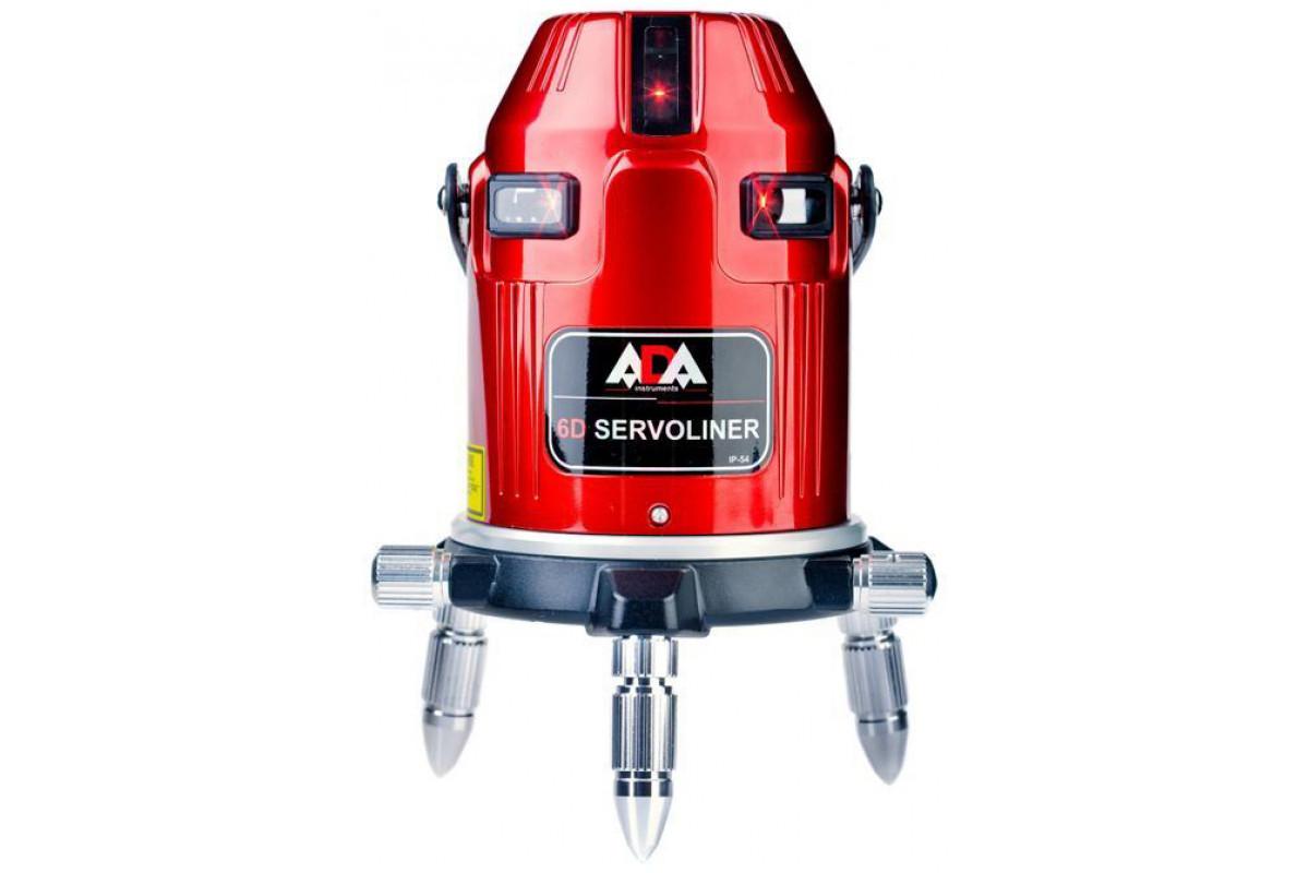 Нивелир лазерный ADA 6D Servoliner  5 лазерных крестов/линия ±1 мм/10 м дальность 10м + КЕЙС + ОЧКИ