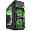 Компьютерный корпус Sharkoon VG7-W Green led, черный
