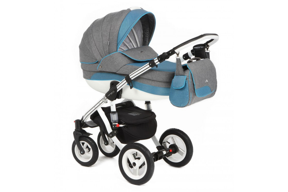 Adamex Aspena Deluxe - коляска 3 в 1 (серая и синие полосы 350W)