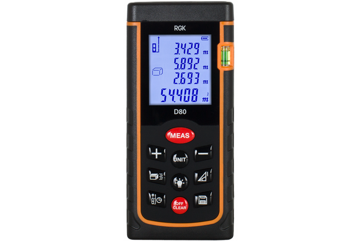 Дальномер RGK D80  ±2мм 80м дисплей IP54 2хААА 1.5В