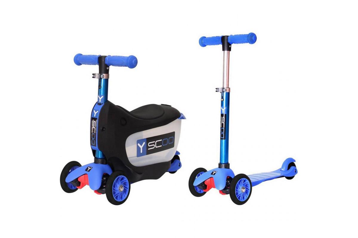 Y-Scoo Mini Jump & Go - каталка-самокат 3 в 1 Dark синийсо светящимися колесами